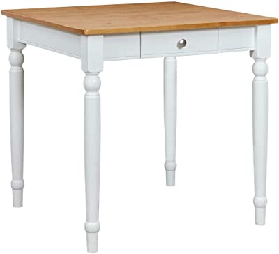 """Amazon Brand – Ravenna Home Traditional Dining Table 29""""H, White and Rustic Honey Pine"""