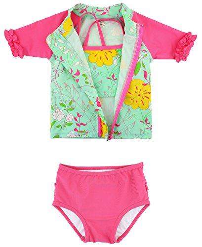 RuffleButts Infant/Toddler Girls Floral Zip-Up Rash Guard Bikini 3-pc Set - Serenity - 12-18m