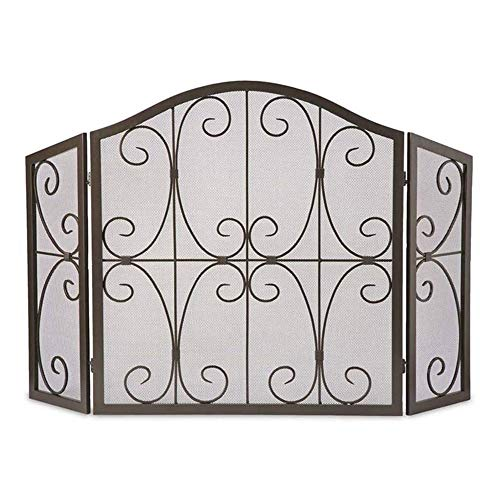 Best Deals! WJMLS 3 Panel Spark Guard, Iron Fireplace Screen Panel, Metal Mesh Safety Fire Place Gua...