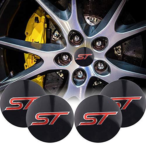 XCBW 4 Stück 56mm ST Logo Emblem Auto Wheel Center Hub Caps Aufkleber für F-ord Fiesta Kuga Fusion Escape Edge