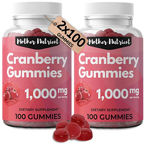 Cranberry Gummies for Women and Kids (2-Pack). 1000mg of Pure Cranberry. Antioxidant, UTI Urinary Tract Health. Vegan Gummy Vitamins, Chewable Cranberry Pills