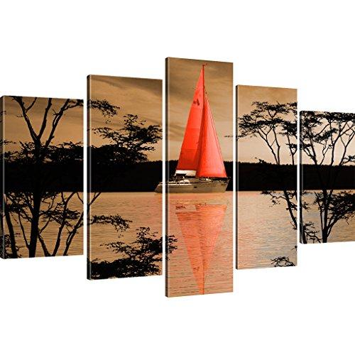 Kunstlab Wandbilder Segelschiff Bild auf Leinwand Einmaster Leinwandbild See - 175x100 cm 5-Teilig: Sepia