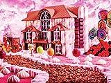 Flor paisaje marino pintura de diamantes mosaico bordado de diamantes casa rosada romántica Kit de diamantes de imitación de punto de cruz A4 30x40cm