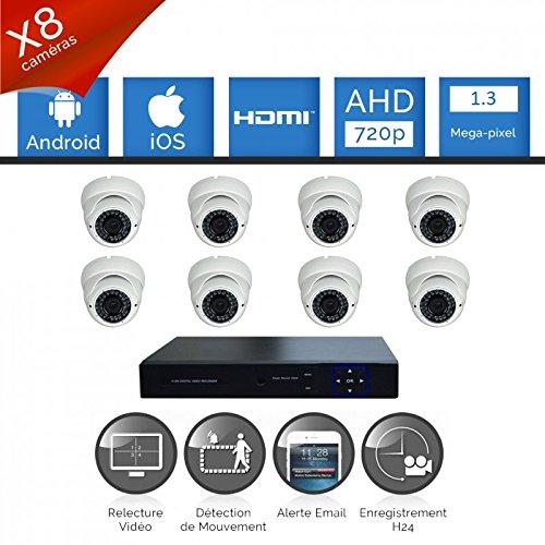 Talinfo-Kit di videosorveglianza composto da 8 Videocamere Sony FULL AHD 720P, 1,3 MP varifocale-Hard disk 8, senza cavi alim. e video, schermo da 19, garanzia 2 anni