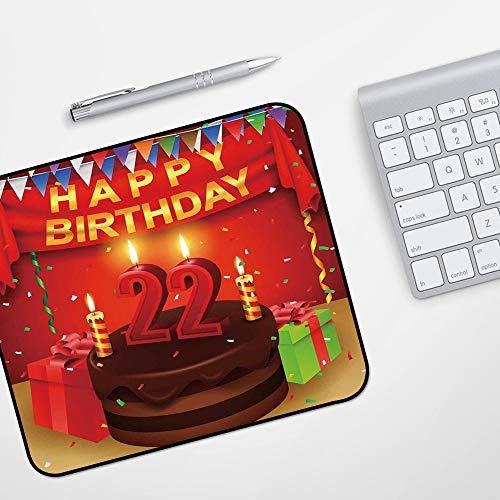 Gaming Mousepad Mauspad,22. Geburtstag Dekorationen, Kuchen mit Kerzen Fröhliches Ereignis Leckeres Überraschungskunstwerk, Rotkastani,Komfort Mousepad - verbessert Präzision und Geschwindigkeit