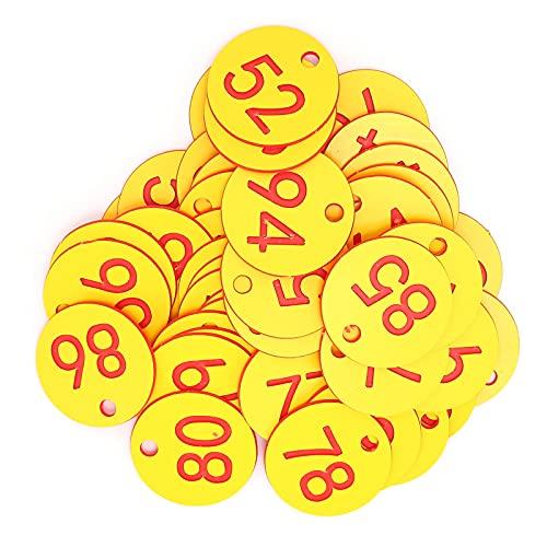 50 piezas de marcador de colmena, marcador de número, número perforado, marca de colmena con agujero, accesorio para ganado, rojo + amarillo para la cría de animales de apicultura