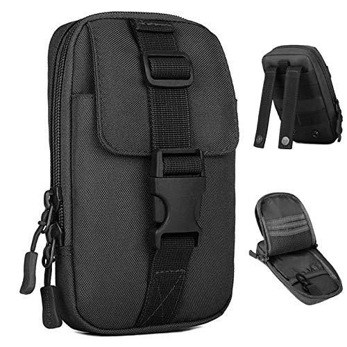BAIGIO Taktisch Handytasche Wasserabweisend Militär Hüfttasche Gürteltasche Molle Tasche für GPS Airsoft Wandern Trekking Outdoor Sport (Schwarz)