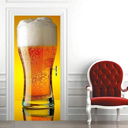 KAMAUAY Tür Aufkleber Dekoration 3D Kreative Aufkleber Dekoration Wohnzimmer Wandaufkleber Bierkrug Aufkleber-77X200Cm