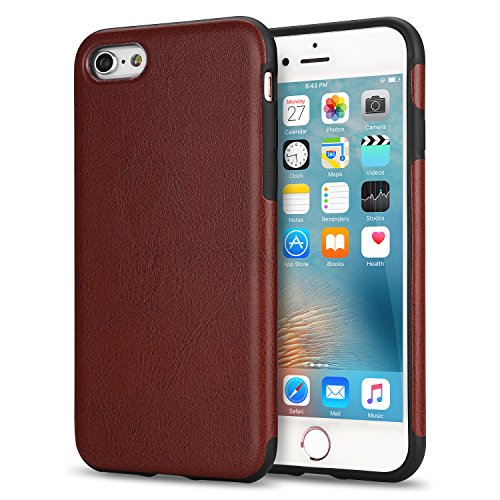 iPhone 6s Case, Tendlin Premium Leather Back Flexible TPU Silicone Hybrid Soft Slim Cover Case for iPhone 6 and iPhone 6s (Brown)