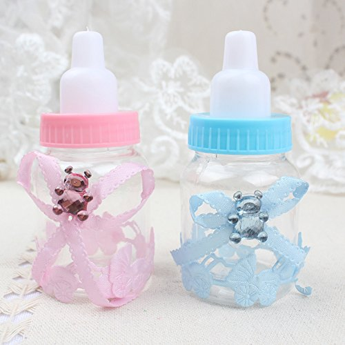 Craft and Party 3.5 Inch Plastic Milk Bottle Fillable Baby Shower Favor Decoration Blue 24-pack