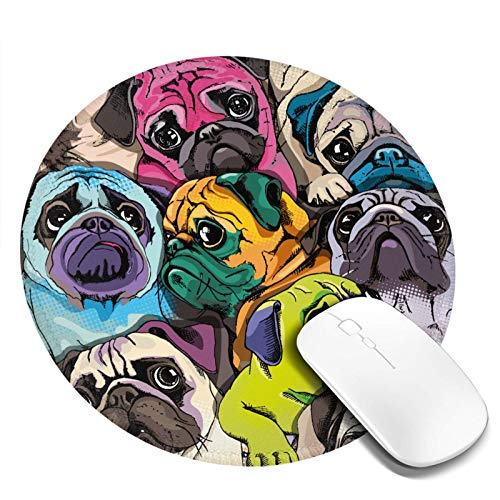 Pug Mouse Pad Round Mini Mousepad Colorful Cute Funny Pugs Dog Dogs Animal Patterned Art Print Office Computer Laptop Desk Decor Small Circle Mouse Mat for Women Girls Boys