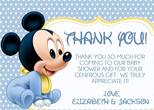 Personalized Mickey Mouse Baby Shower Thank You Cards With Envelopes