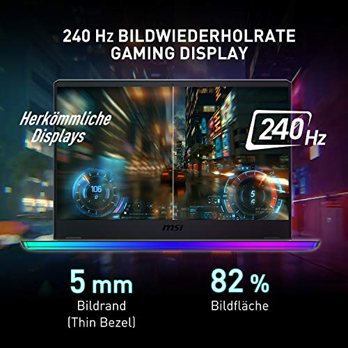 MSI GE76 Raider 10UE-290 17.3 Zoll FHD (1920*1080 Pixel / 240 Hz) Gaming Notebook (Comet Lake i7-10870H+HM470) NVIDIA GeForce RTX 3060 Laptop GPU 6 GB GDDR6 VRAM 1TB, Windows 10 Home