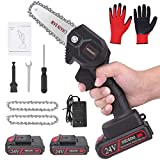 OICGOO Mini Chainsaw, Handheld Cordless Electric Chainsaw with 2Pcs Batteries and Chain, Portable 24V Electric Chainsaw, Chainsaw for Garden Bush Tree Branch Pruning Shears Wood Cutting