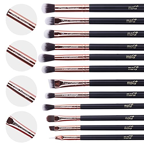 MSQ Custom Augen Make-up Pinsel Personalized Make-up Pinsel Set 12 Stück Lidschattenpinsel Customised Gravierte Name Geschenk für Lidschatten, Augenbrauen, Eyeliner, Blending