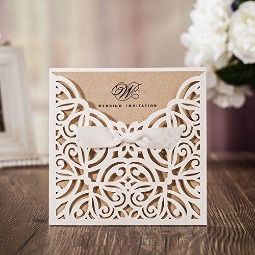 wishmade invitaciones de boda tarjetas cortadas a láser, 50x rústico blanco cuadrado invitaciones con lazo encaje para novia compromiso bebé ducha cumpleaños quinceañera cw6179W