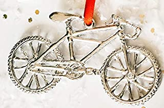Handmade Mountain Bike Biker Bicycle Triathlon Christmas Ornament Pewter