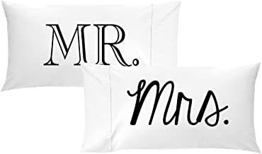 Oh, Susannah Mr and Mrs Pillow Cases - Anniversary Wedding Gift - Couple Pillowcases His & Hers (2 Queen Size Pillowcases) Girlfriend Gifts