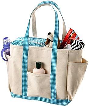 Canvas Baby Diaper Bag - Side Pockets Shoulder Handles and Zipper Top Closure.
