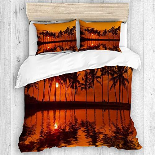 AIKIBELL Bedding Juego de Funda de Edredón,Anaehoomalu Bay Sunset en Big Island Hawaii,Microfibra (1 Cama 94 * 102inch + 2 Almohada 19.6 * 31.5inch)