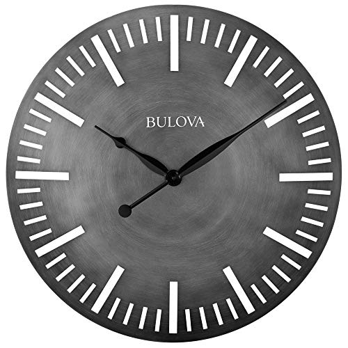 Bulova C4869 Arc Wall Clock, Silver
