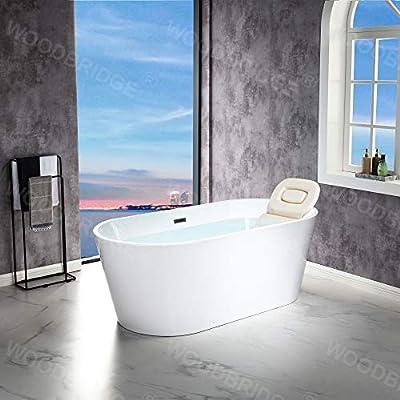 "WOODBRIDGE 67"" Freestanding Acylic Soaking Bathtub with White, Drain and Overflow inMatte, BTA1513-MB-Drain &O+ Pillow, Matte Black"