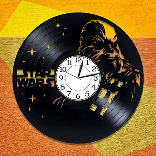 Chewbacca Reloj hecho a mano película original decoración del hogar Star Wars vinilo record reloj de pared Chewbacca reloj de pared para fan Star Wars regalo de cumpleaños idea para niño