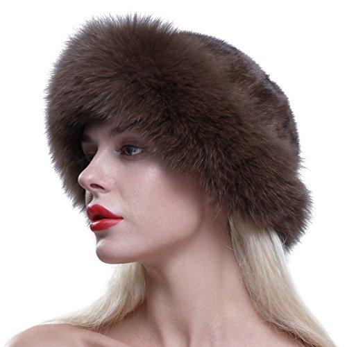 URSFUR Gorro de piel de lujo para mujer verdadera piel de zorro,boina de invierno,Sombrero de copa redondo,Café