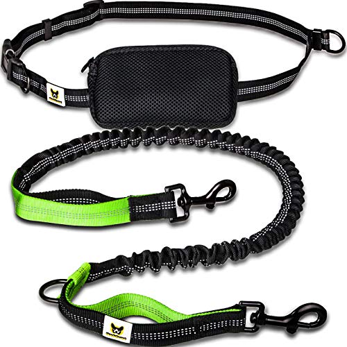 Jogging-Leine - Elastische und reflektierende 120 cm Hundeleine (bis 200 cm dehnbar) mit verstellbarem Hüftgurt mit Hüftbeutel - Ideal zum freihändigen Joggen, Spazieren und Wandern