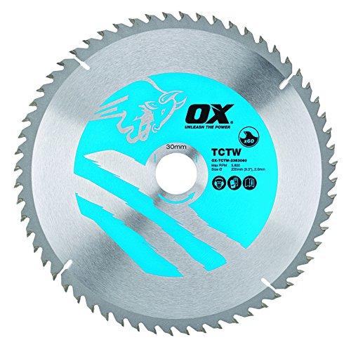 OX Tools OX-TCTW-2353060 OX Hoja de Sierra Circular para Cortar Madera 235/30mm, Dientes, 0 V, Silver/Blue, 60 Teeth ATB