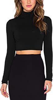 Women's Long Sleeve Slim Fitted Stretchy Mock Turtleneck Crop Top Shirt for Women