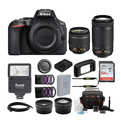 Nikon D5600 24.2MP DSLR Camera with 18-55mm and 70-300mm Lenses Bundled with 64GB SD Card, Filters,...