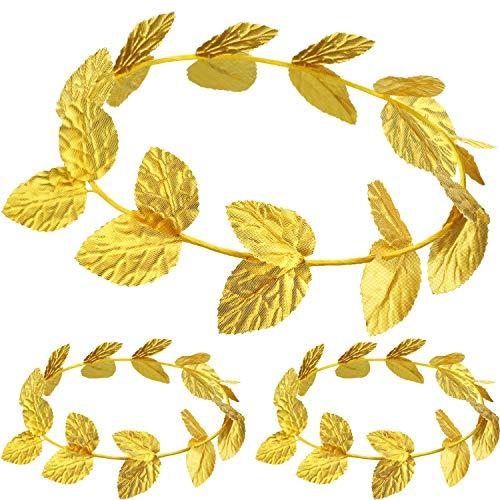 meekoo Römischer Kopfschmuck Gold Blatt Kronen Kopfschmuck Römisches Blatt Stirnband Toga Kopfbedeckung (3 Stücke, Gewirke)