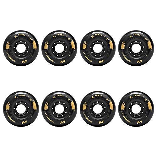 TGHY 85A Inline Skate Rollen 72mm 76mm 80mm Goldenes Muster PU Ersatzräder für Hockey Skates für Anfänger 8 STK,Schwarz,76mm