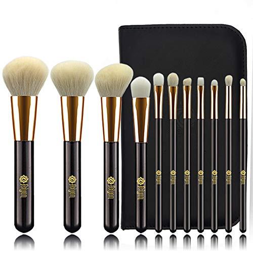 FEIYAN Makeup Brushes Set Goat Natural Hair with Bag (11pcs Black Gold)