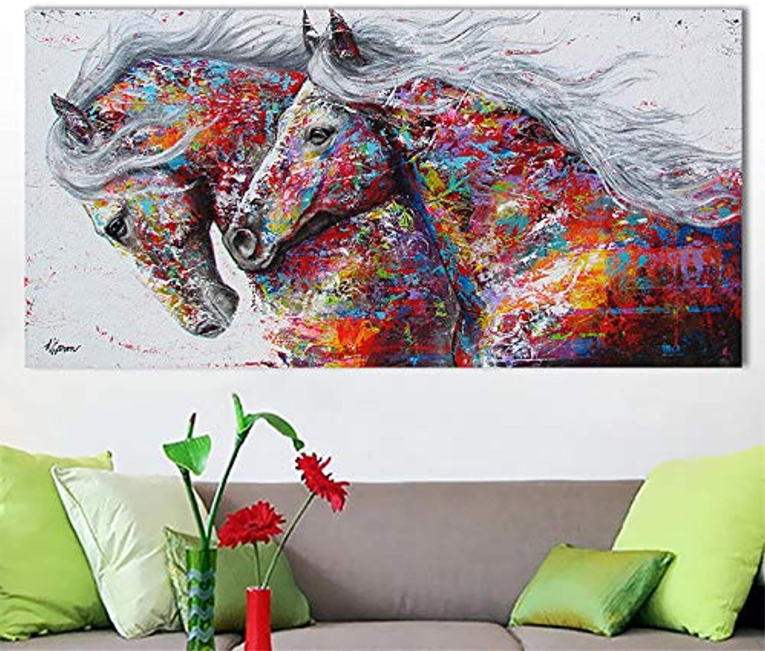 W15Y8 Graffiti Art Two Running Horse Animal Art Big Size Wall Pictures For Living Room Canvas Print Posters 70X140Cm No Frame