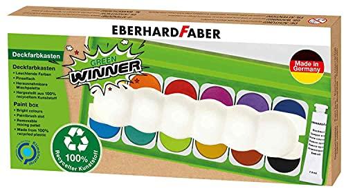 Eberhard Faber 578313 - Green Winner Deckfarbkasten mit 12 Farben in austauschbaren Farbnäpfen, Deckweiß und Pinselfach, Deckel als Mischpalette nutzbar, für Schule, Freizeit und Hobby