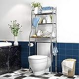 C&JQ Estanteria Baño Encima WC,Baño Estante para Inodoro Estante para Lavadora Estante,Acero Inoxidable Ahorrar Espacio,Fácil de Instalar 100% Sin óxido,B