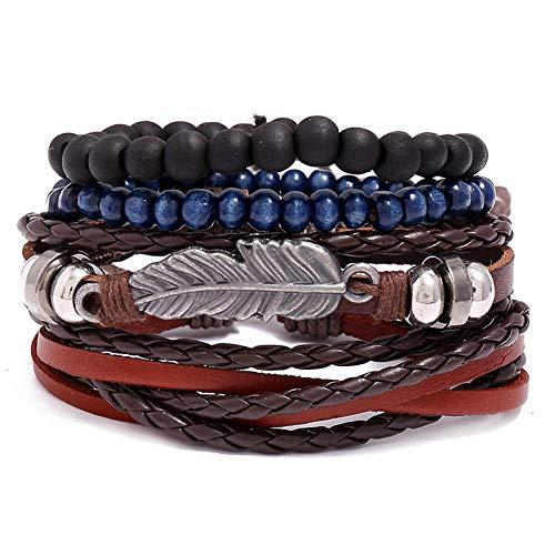 Joyería retro pulsera de cuero de plumas trenzadas diy accesorios de cuatro piezas para hombres-cuatro piezas
