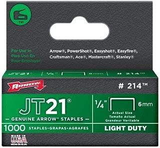 Arrow Fastener 214 2 Pack 1/4in. JT21 Light Duty Staple, 1,000 Staples Per Pack