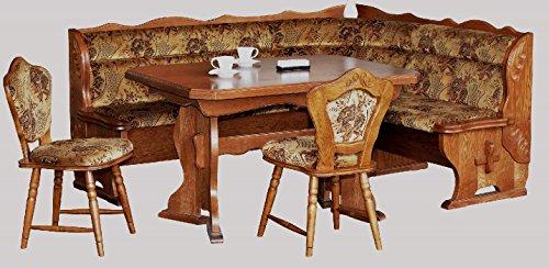 4-4-3-2184: Kücheneckbank, ausziehbarer Tisch, 2 Stühle - Eckbankgruppe - Eiche rustikal