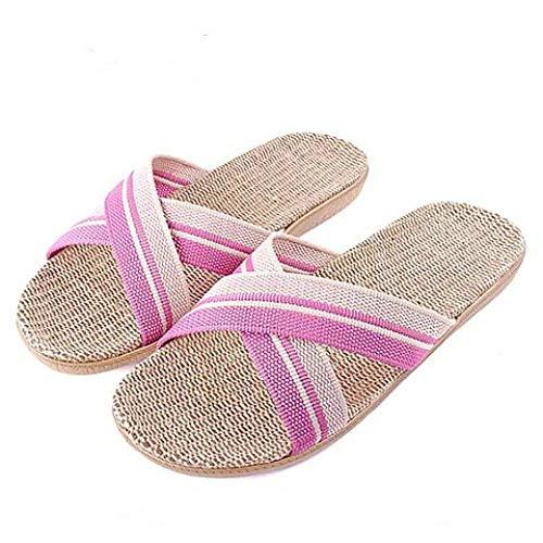 LINGZIA Zapatillas de Playa de Verano para Mujer, Zapatos Planos Sandalias de Lino de Lino Transpirables Zapatos Zapatillas de casa acogedoras para Mujer Chanclas de Interior 6.5 SYM-CLSPúrpura