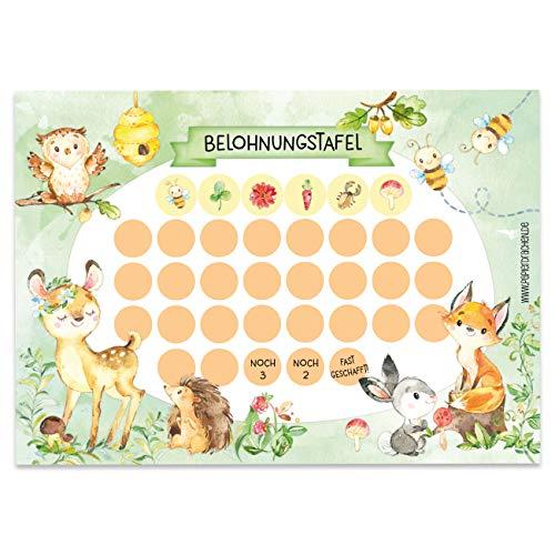 Papierdrachen Belohnungstafel Set für Kinder als Abreißblock 10 Blatt - Motivierendes Konzept als Erziehungshilfe - mit tollen Stickern für Jungs und Mädchen - Motiv Waldtiere Set 1