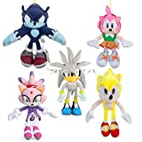 Xin Yao Store Peluche Toynew Series Super Sonic Amy Rose Blaze The Cat Sonic The Werehog Silver The Hedgehog Peluche de Peluche de 11-20 Pulgadas