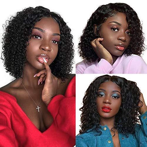 Peluca de pelo humano Rizado rizado pelucas cabello humano virgen brasileño Peluca corta Bob Pelucas color natural con cabello de bebé para mujer negra de 14 pulgadas