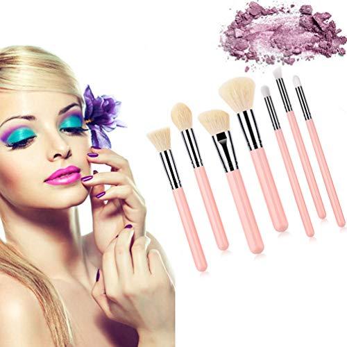 7 PCS Maquillage Pinceau Ensemble Avec Sac Ombre À Paupières En Plastique Sourcils Fondation Poudre Portable Blush Mélange Contour Brosse