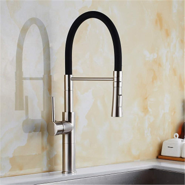 VIOYO Wasserhahn Wasserhahn Kitchen Sink Wasserhahn Pull Outschwarz Nickel Bürste 360 Grad Swivel Einhand-Mischbatterie Küchengemüse Wasserhahn