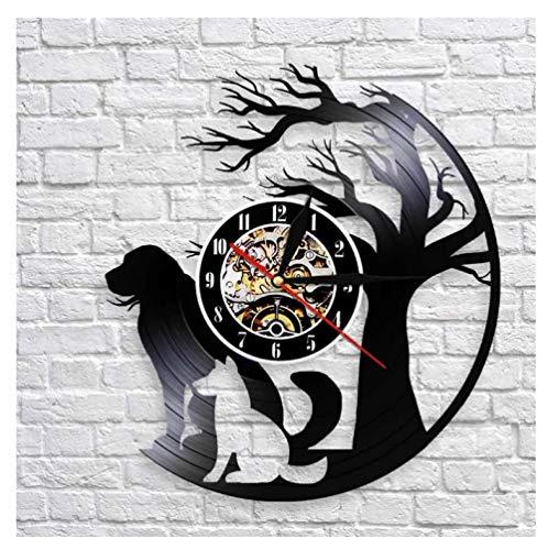 Reloj de Pared Vintage,Reloj Pared de Disco de Vinilo Silencioso Decoración para Habitación Dormitorio Cocina Oficina Bar 30CM。 Sombra de Perro árbol