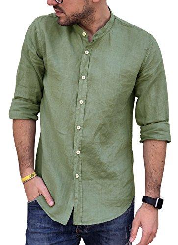 CAMICIE & dintorni Camisa de puro lino Coreana talla S, M, L, XL, XXL, 3XL – Slim – Hombre – Manga larga Art. A20 verde militar XXL