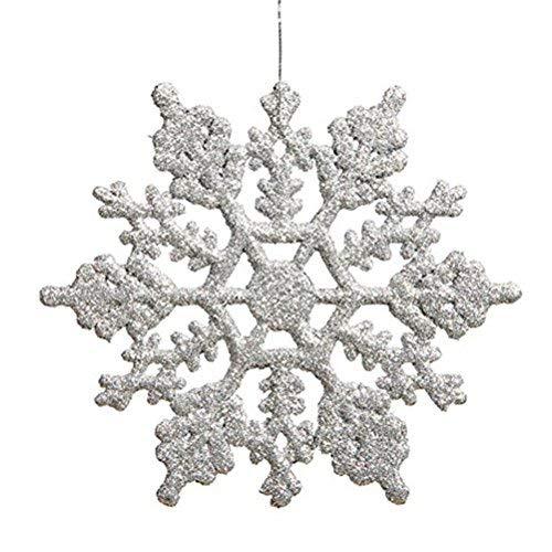 OULII Fiocchi di Neve per Natale Fiocchi di Neve per Decorazione Albero di Natale da Appendere di 10 cm 12PCS (Argento)